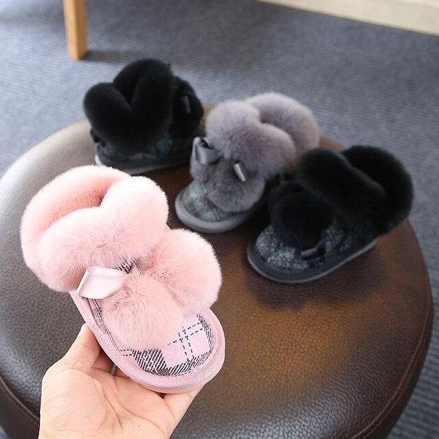 2dfa40244 2018 winter kids shoes girls Toddler Soft Bottom foot warmer genuine ...