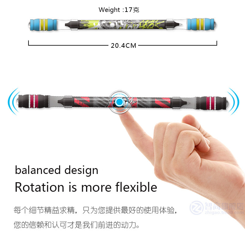 1PCS Cool Pen Spinning Rotiting Gaming Pen Pen Ball Antiderapant Acoperit Spin Rolling Pen Blue Reumplere de cerneală Dintre