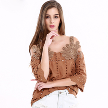 2017 new women vintage three-dimensional decorative hollow tape small shirt crop top one collar casual shirt strapless top party
