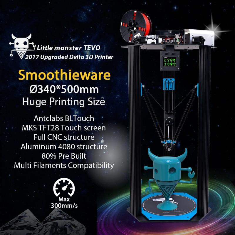 TEVO Delta TEVO Little Monster Delta 3D Printer DIY Kit Kossel Delta/Smoothieware/MKS TFT28/Bltouch Full Metal Structure Gifts