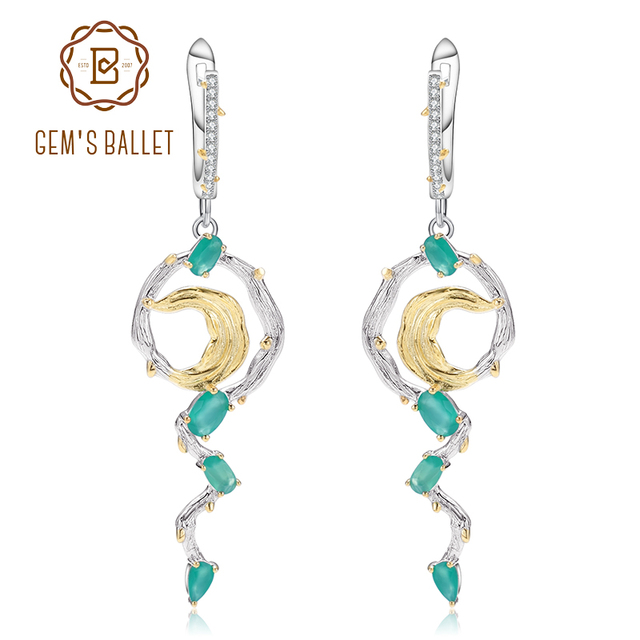 GEM'S BALLET Natural Green Agate Earrings 925 Sterling Silver Handmade Statement Vintage Drop Earrings For Women Fine Jewelry-in Earrings from Jewelry & Accessories on Aliexpress.com | Alibaba Group