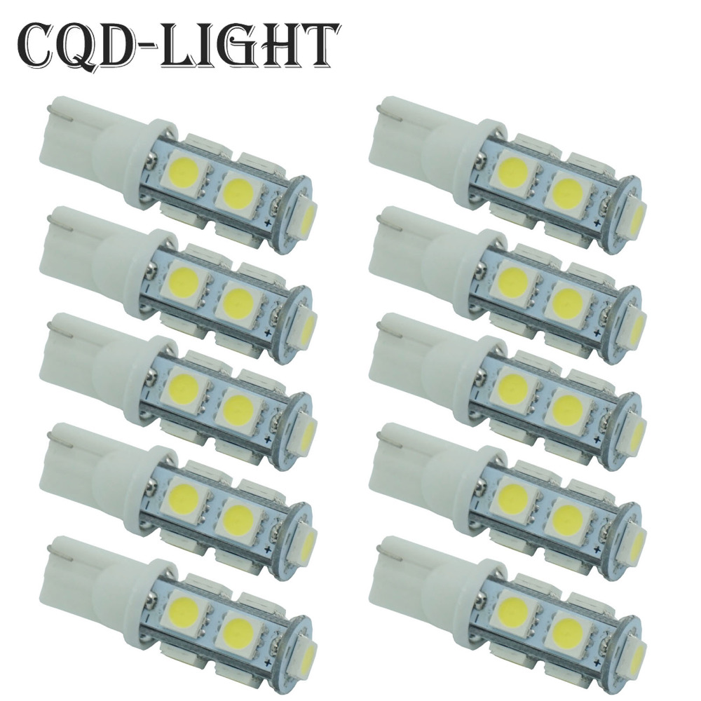 CQD-Light 10PCS T10 9 SMD 5050 White Wedge 194 W5W LED Bulb Lamp 501 dash led car bulbs interior Lights Source parking 12V 10pcs t10 led bulb 5 smd 5050 led t10 w5w 194 168 car light source lamp t10 5 led dash indicator signal side wedge tail light
