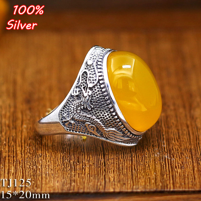 100% 925 Sterling Silver Dragon Ring Jewelry For Men 15*20MM Oavl Blank DIY Fitting Gem Base Tray Antique Silver Adjustable Ring
