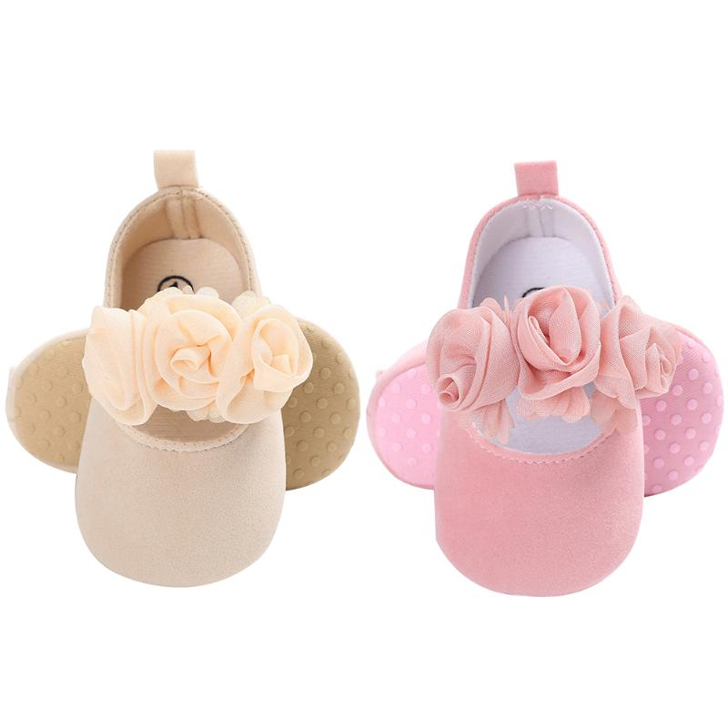 Baby Girls Lace Flower Shoes Toddler Girls Sweet Bowknot Princess Prewalker Anti-Slip First Walkers For Baby Birthday Gift