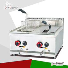 PKJG GF72A Gas Temperture controlled Fryer 2 Tank 2 Basket for Commercial Kitchen