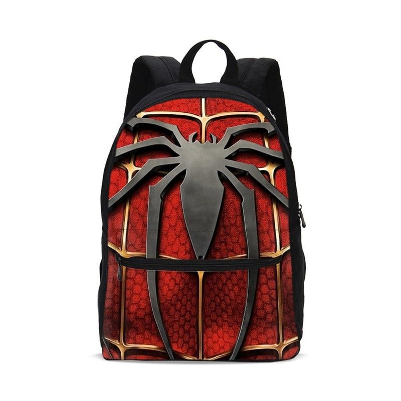 Canvas Backpacks For Boys Girls Fashion Marvel Super Hero Spiderman Pattern School Bags Teenage Children Bookbag