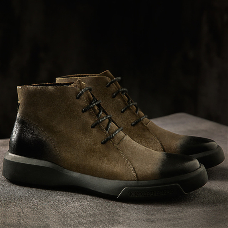 verde Do Sapatos Aa60845 Redondo Vintage Falt Masculinos Boots Homens Ankle Dedo Dos Curto Anti Alta Botas slip Sola Exército Pé Laço Top De Motociclista Preto Borracha Up 65nqn4wg