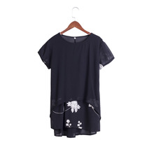 Short Sleeve Embroidery Flower Print Patchwork White Tops