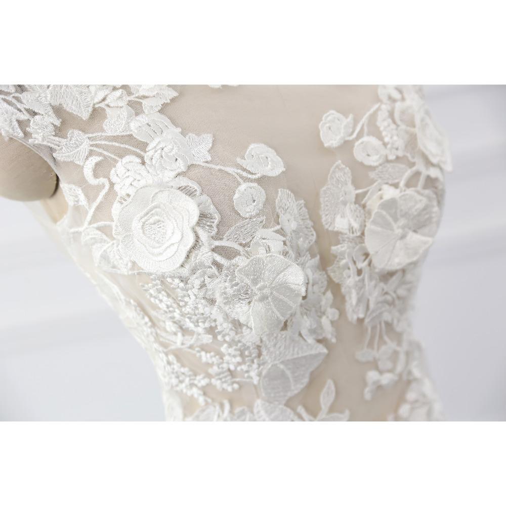 Lover Kiss Wedding Dress 2017 Vintage Mermaid Lace Appliques Bead Robe de Mariage Sexy Back Bride Dresses Vestido de Noiva 8