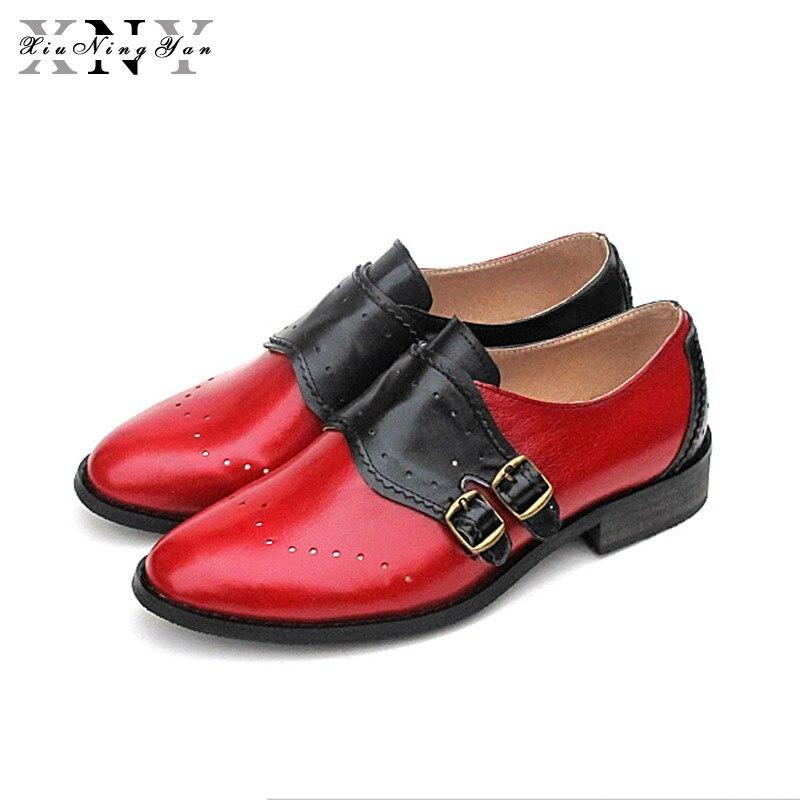XiuNingYan Genuine Leather Big Size Designer Vintage Flats Shoes Round Toe Handmade Blue Yellow 2018 Oxford