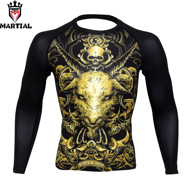 Martial : Capricorn Constellation Original Design Boxing Jerseys Gym T-shirt Wrestling Clothes Long Sleeve T Shirts For Sports