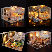 DIY Model Doll House Miniature Dollhouse with Furnitures LED 3D Wooden House Toys Handmade Crafts L020 L022 L023 M030 #E