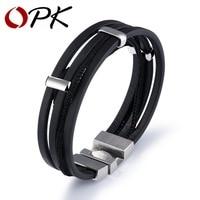 OPK 2017 New Arrival Multi Layers Genuine Leather Bracelets For Men Punk Braided Wrist Wrap Braclet
