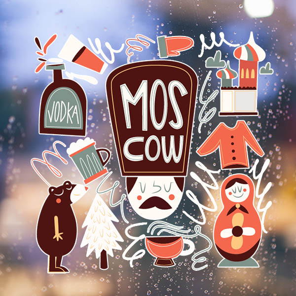 ٩(^‿^)۶Brown Bear matreshkas Rusia cultura ilustración pared ...