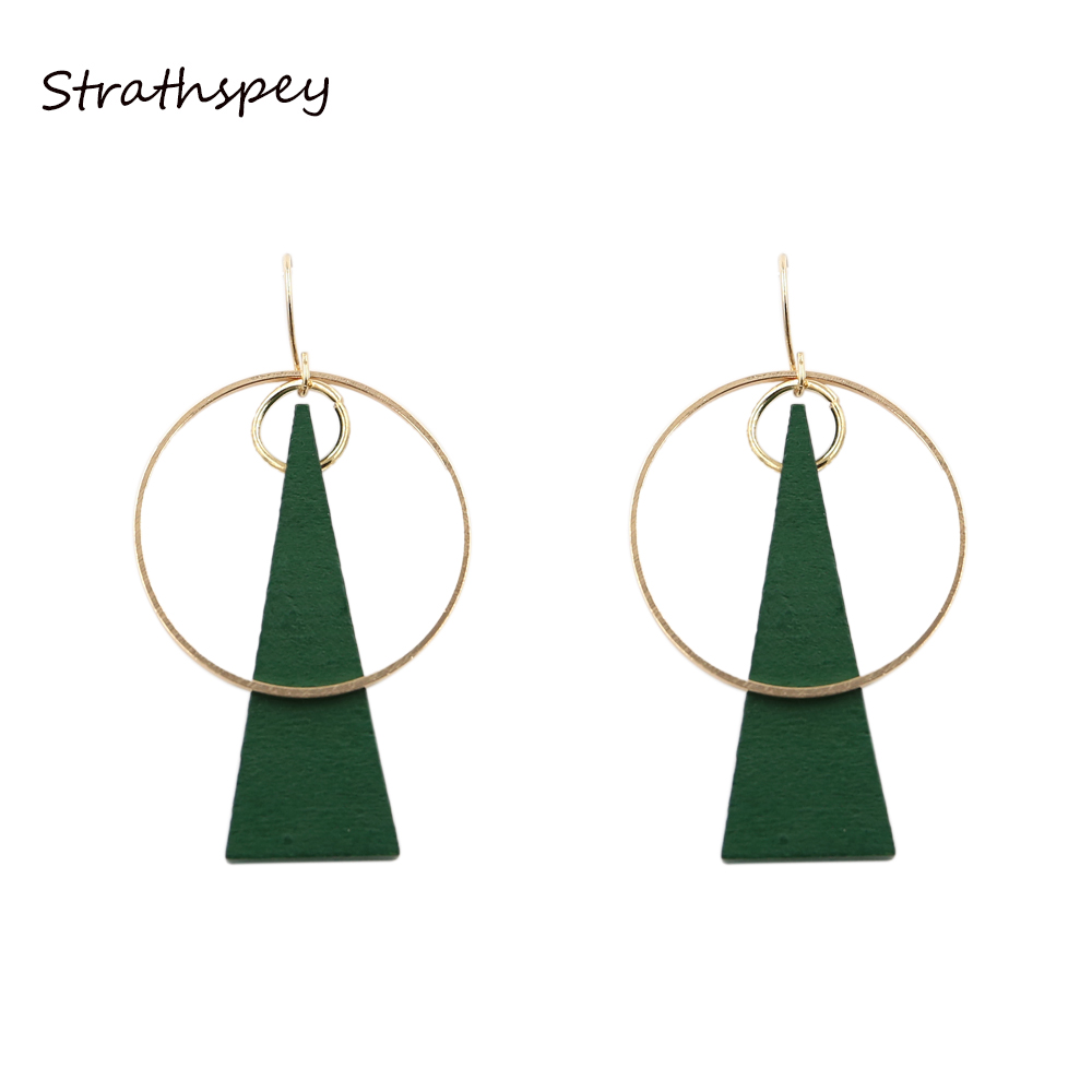STRATHSPEY Dangle Earrings Accessories For Women 2017 New Big Round Alloy Drop Earring Triangle Gift Special Design Green Wood