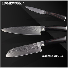 XYJ Brand Damascus Knives Sharp 8 Inch Chef 7 Inch Santoku 3.5″ Paring Knife Kitchen Knives AUS-10 Damascus Steel Cooking Tool