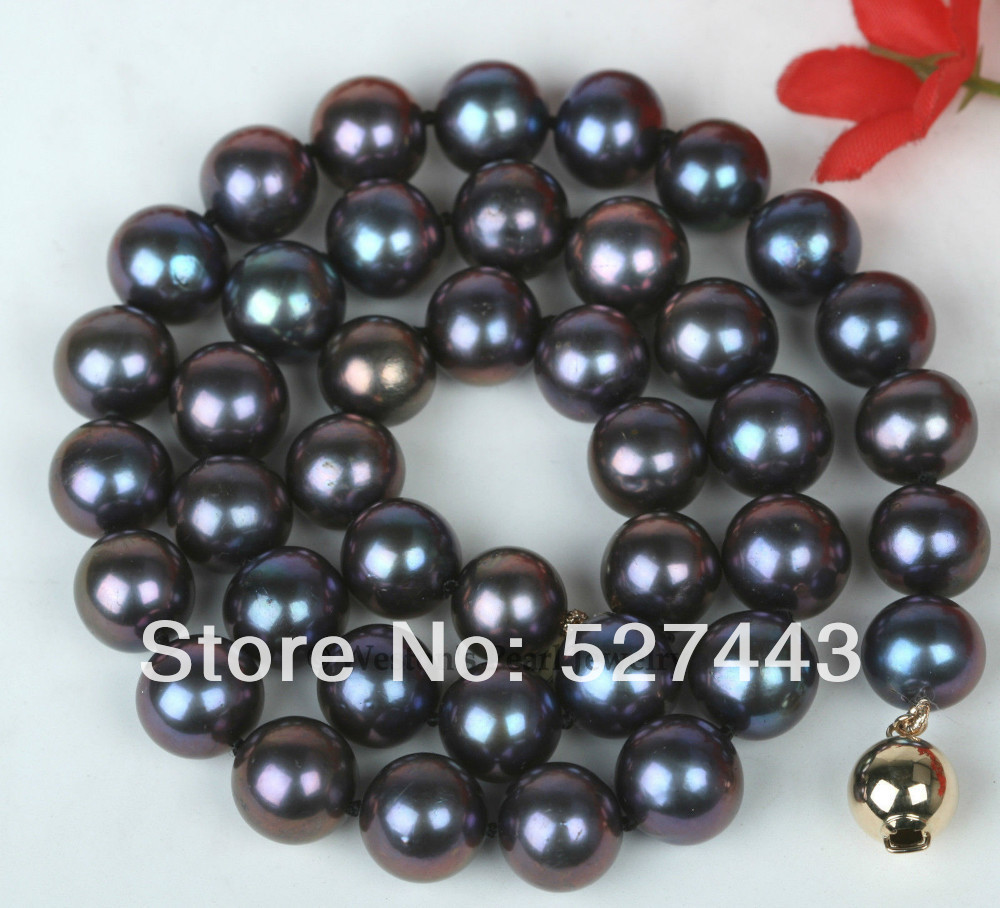 Wholesale 10MM LARGE SIZE BLACK GENUINE CULTURED FRESHWATER PEARL CHOKER NECKLACE CHAIN