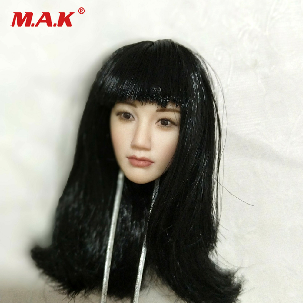 1/6 1:6 Scale Asian beauty head sculpt Black straight bang Long Hair Head Model For 12 Action Figure Collection Doll Toys Gift 1 6 scale asia special force t01 peng yuyan figure head model for 12 action figure collection toys gift
