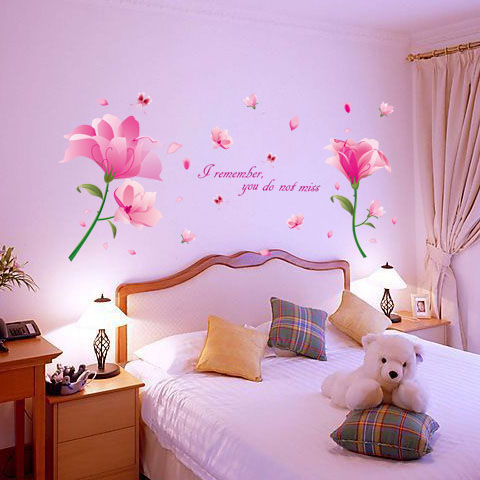 Romantic sweet dream flower removable wall sticker bedroom drawing ...