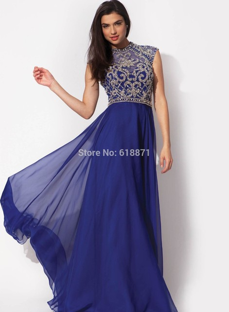fashionable high neck long blue prom dresses 2014 sparkle