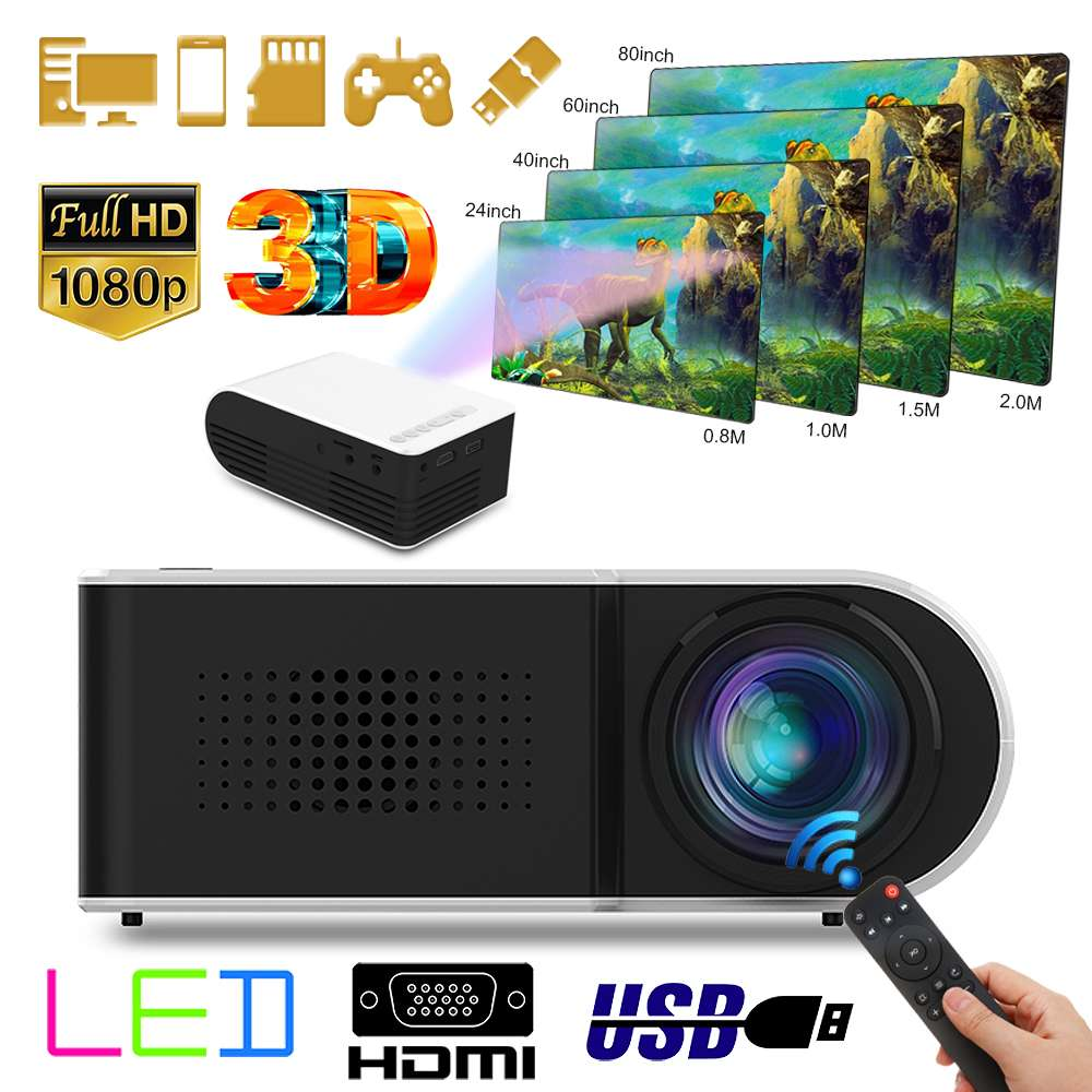1080 P HD Mini projecteur stéréo sans perte haut-parleur vidéo Home cinéma cinéma 7000LM LED lecteur multimédia Machine de Projection