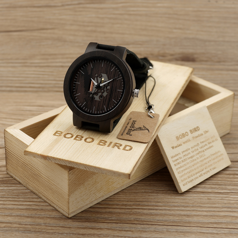 BOBO BIRD Wooden Watches For Men Casual Watch Black Cowhide Leather Strap With Wooden Box Father's Day Gift C-H30