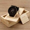 Bobo bird madera relojes para hombres reloj ocasional de cuero de vaca negro correa de cuero con la caja de madera del regalo del día de padre