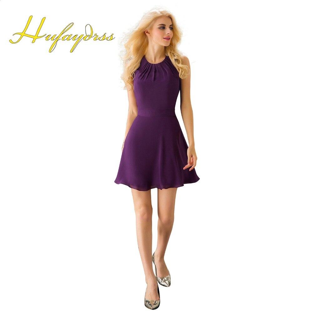 Cheap Bridesmaid Dresses Short 2017 Purple Mini Hollow