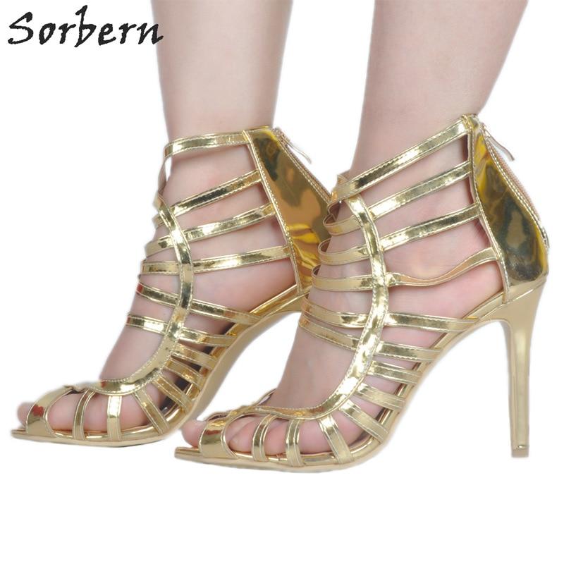Sorbern Gold Gladiator Heels Sexy Platforms Open Toe Heels Custom Women Fashion Heels 2017 Women'S Shoes Size 12 Size 34-47
