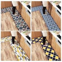New home long nylon kitchen mat customize Wear-resistant rub Water-absorbing mat non-slip Plaid pattern carpet Moroccan art rug