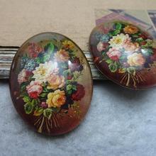 2 шт 30x40 мм ручной работы фото стеклянные кабошоны(цветок) GL 1-23
