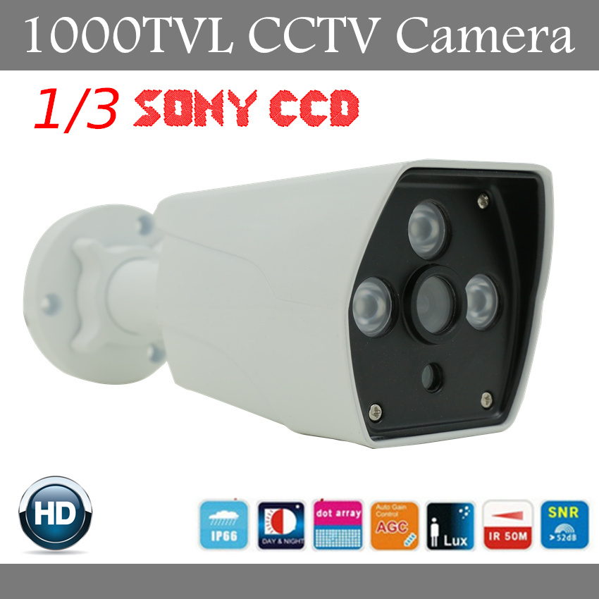 2017 New Hot Sell 1/3 SONY CCD HD 1000TVL Waterproof Outdoor Security Camera IR 50 meter 3pcs Leds CCTV Camera Free Shipping free shipping new 1 3 sony ccd hd 1200tvl waterproof outdoor security camera 2 pcs array led ir 80 meter cctv camera