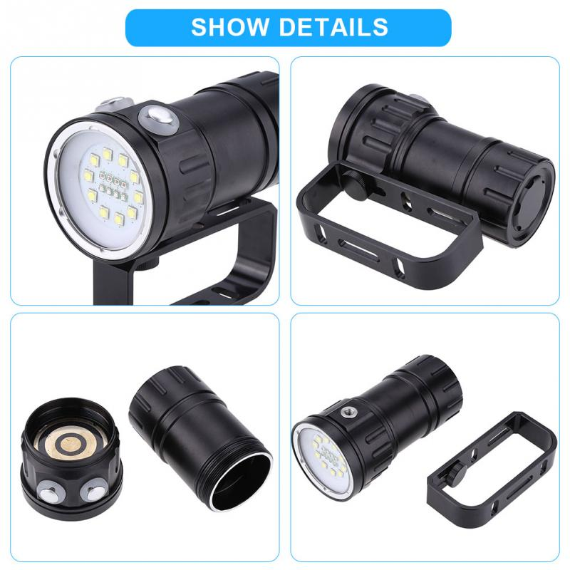 3 7V 12000 Lumens Diving Flashlight LED Photography Diving Flashlight Torch Underwater 80m Waterproof with Bracket Stand in LED Flashlights from Lights Lighting