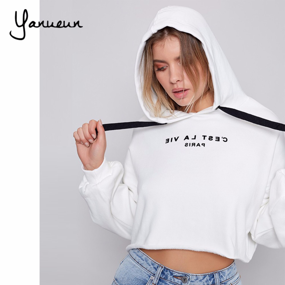 Yanueun 2017Women's Spring And Autumn Hooded Sweatshirts Letter Printed Fleece Long Sleeve Loose Tracksuit Hoodies For Women