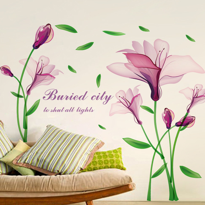 Elegant Online Shop Purple Flower Wall Sticker Lily Floral Wall Decal Vinyl Living  Room Bedroom Stickers Removble Art Wall Decor Home Decor | Aliexpress Mobile Part 25
