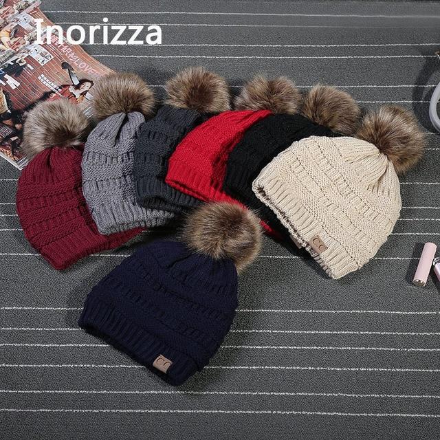 Elegante Casual gorras mujer sombreros de invierno Crochet gorro de ...
