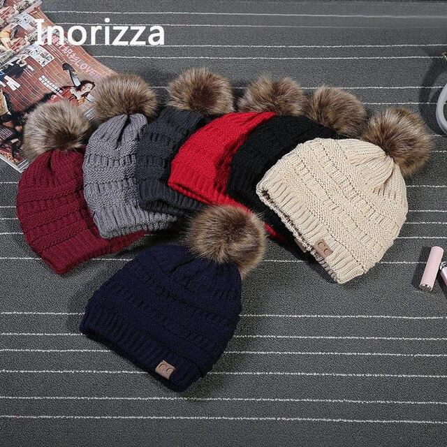 Stilvolle Casual Mützen Frauen Winter Hüte Häkeln Stricken Wolle