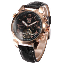 JARAGAR Mens Auto Mechanical Golden Case Flying Tourbillon Vogue Watch Relogio Masculino Male Wristwatch Montre Homme