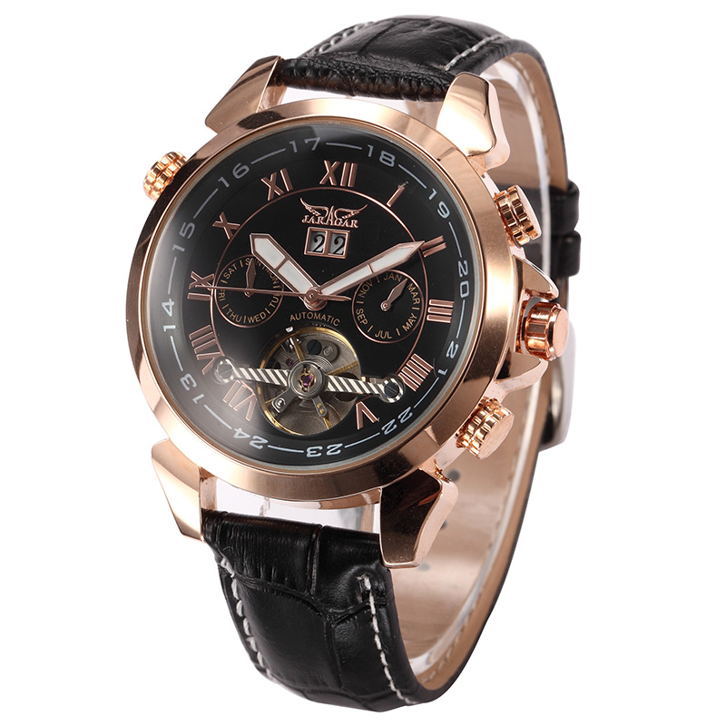 Relógio de Pulso Jaragar Masculino Montre Homme Flying Tourbillon Vogue Case Ouro Mecânico