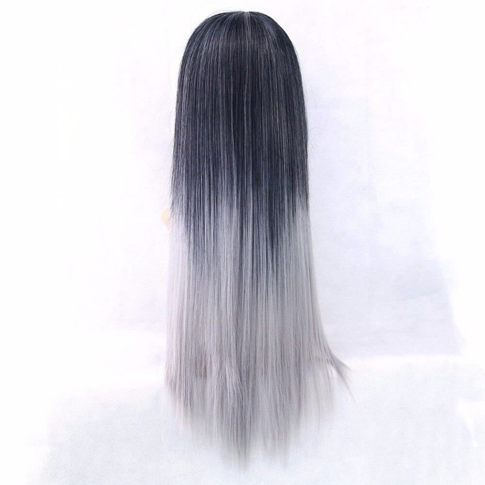 100% Wahr 6 Farbe Lange Gerade Haar Ombre Perücke Hitzebeständige Faser Synthetische Cosplay Perücken