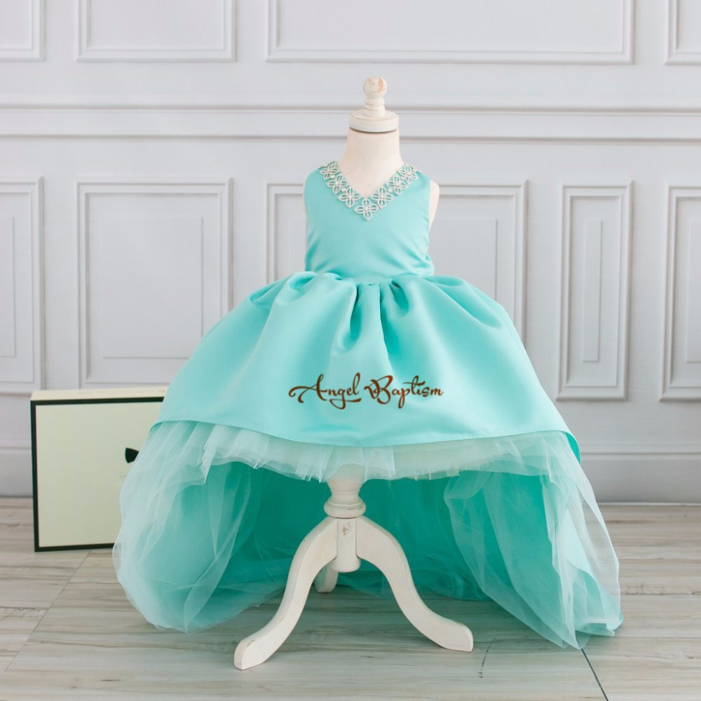 Lovely Mint green flower girl dresses high-low crystals V-neck Satin toddler pageant birthday dress for evening party sleeveless v back toddler flower girl dresses for weddings and party gold and white pink mint green girls dress 6 to 7 years
