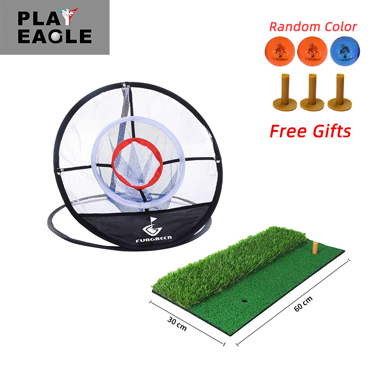 FUNGREEN Golf Chipping Mat And Net 60x30cm Indoor Outdoor Training Rubber Tee Holder Mat Golf Hitting Mat With Golf Ball Tee