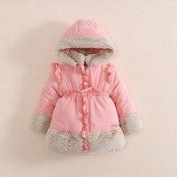 어린이 여자 겨울 의류 겉옷 & 코트 아이 레드 후드 모피 칼라 두꺼운 겉옷 소녀 따뜻한 크리스마스 outwe
