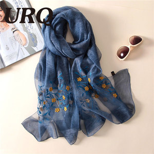 Natural silk Wool Blend spring scarf for women foulard embroidered Chinese style soft bright luxury brand design 063