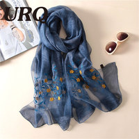50 Silk 50 Wool Spring Scarf For Women Embroidered Chinese Style Soft Bright Luxury Brand Design