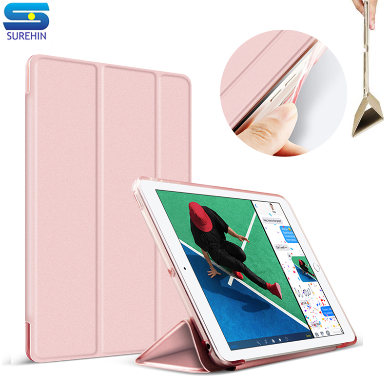 SUREHIN tpu silicone soft edge leather case for apple iPad air 2 cover case sleeve magnetic transparent protective smart case soft silicone tpu translucent back cover for ipad air 2 air2 trifold stand smart auto on off premium pu leather slim fit case
