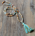 Exclusive Handmade Amzonite and Gold Beads with Colorful Tassel Beads Necklace Classic Beaded Necklace for Women Luxury Jewelry