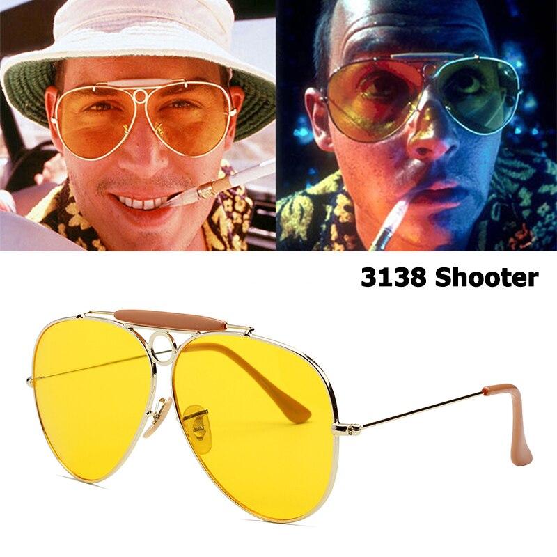 JackJad New Fashion 3138 SHOOTER Style Vintage Aviation Sunglasses Metal Circle Brand Design Sun Glasses Oculos De Sol With Hood|Men