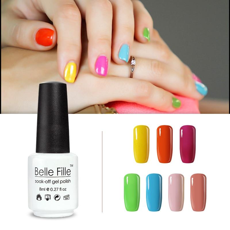 BELLE FILLE 8ml Professional UV Nail Gel Polish Brown Color Coat Nail Primer fingernail polish manicure vernis semi permanent