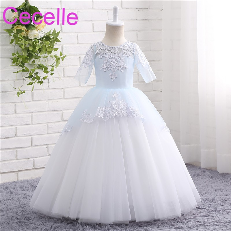 Ivory Blue Ball Gowns Tulle Long   Flower     Girls     Dress   For Wedding With Short Sleeves Immature Bride   Dress   High Quality